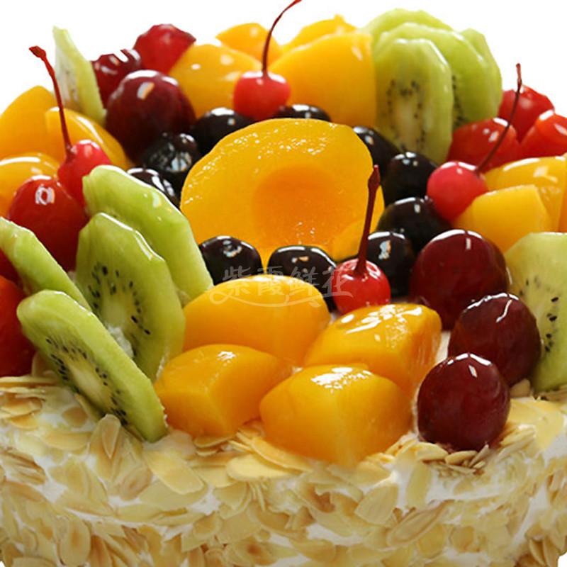食用花卉与瓜果_水果盛宴----圆形水果蛋糕,时令水果装饰。_生日蛋糕_紫霞鲜花 ...