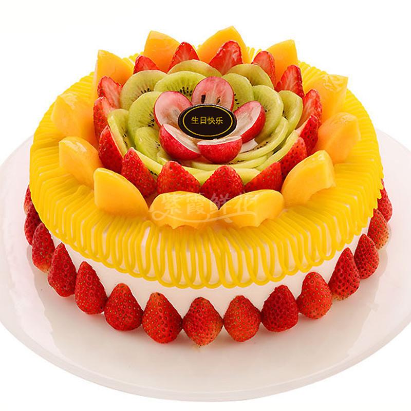 食用花卉与瓜果_草莓之恋----圆形水果蛋糕,时令水果装饰。_生日蛋糕_紫霞鲜花 ...